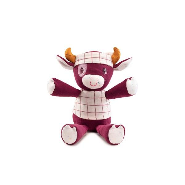 Vous pouvez choisir la peluche câline biologique Rosalie la Vache de couleur rouge grenat