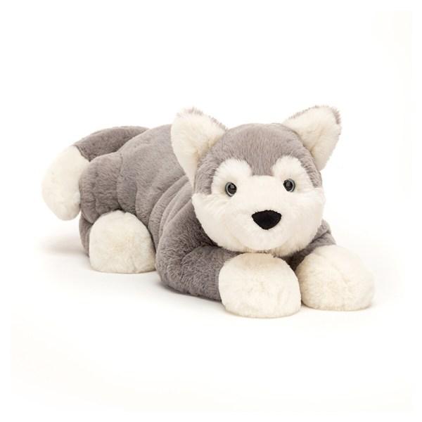 La peluche chien Husky Hudsonest une peluche très douce spécialement conçue pour les bébés et convient dès la naissance. Ami fidèle très loyal, Hudson aime bien se coucher pour attendre son maître. Son pelage très doux est de couleur gris clair et crème. Il prendra place dans le lit ou dans la poussette et sera un très bon gardien.