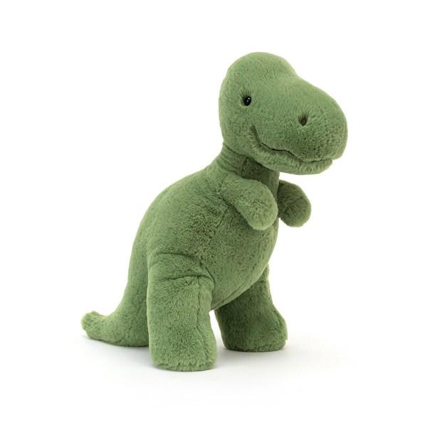 La peluche dinosaure T rex Fossily est une peluche très douce spécialement conçue pour les bébés et convient dès la naissance. Loin d'effrayer les tout-petits, la peluche dinosaure T rex Fossily a vraiment une tête sympathique. Il adore se promener et laisser les empreintes de ses grosses pattes partout où il passe. Contrairement à son lointain cousin le vrai T rex, il n'a pas d'écailles mais un pelage vert d'une douceur incomparable. Aucun danger à tripoter son museau et à s'amuser avec sa grande queue !