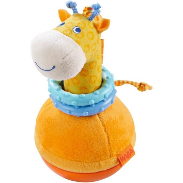 Culbuto Girafe en tissu orange et bleu