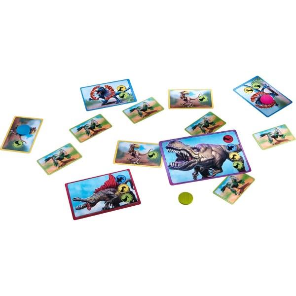 différentes cartes du jeu dino world étalées
