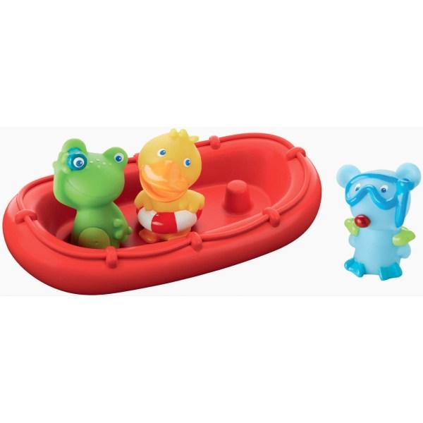Bateau de bain rouge avec des animaux matelots grenouille verte canard jaune et souris bleue