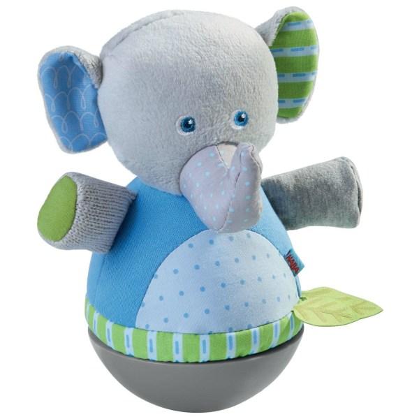 culbuto éléphant en tissu gris bleu et vert