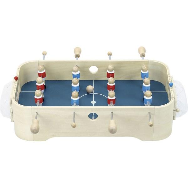 Hockey et Babyfoot côté babyfoot avec les 6 joueurs bleus et les 6 joueurs rouges