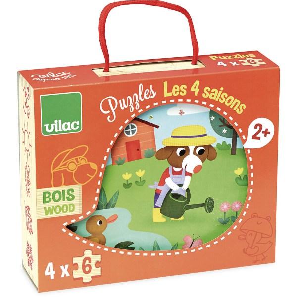 boite des 4 puzzles en bois 6 pièces 4 saisons