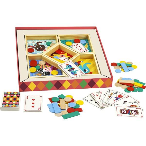contenu du jeu nain jaune avec carte jetons en bois et plateau