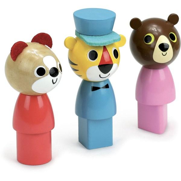 personnages du Bus des formes à trainer chat rouge et rond, tigre bleu et carré, ours rose et triangulaire
