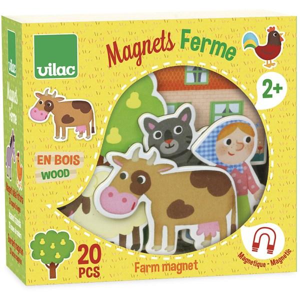 boite jaune des magnets en bois sur le thème de la ferme