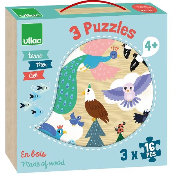 boite bleu cleir des puzzles en bois terre mer ciel