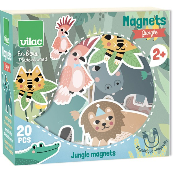boite turquoise des magnets en bois sur le thème de la jungle