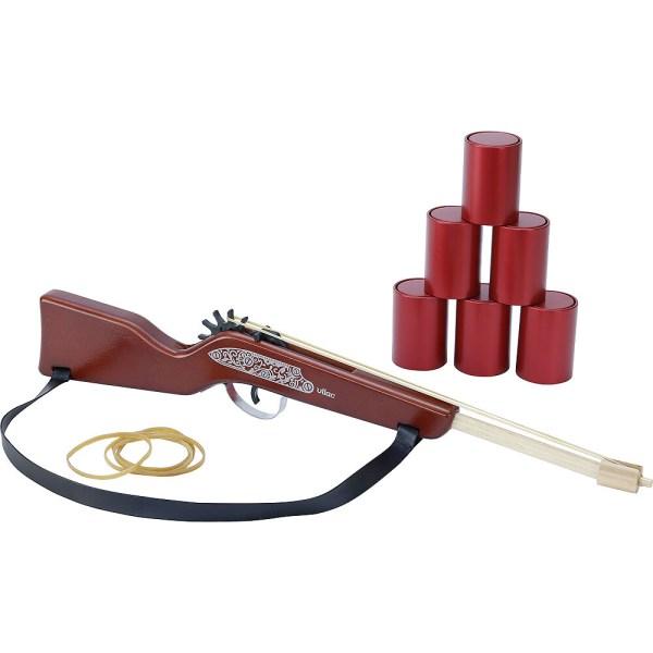 carabine à élastiques avec 6 cannettes rouges en métal
