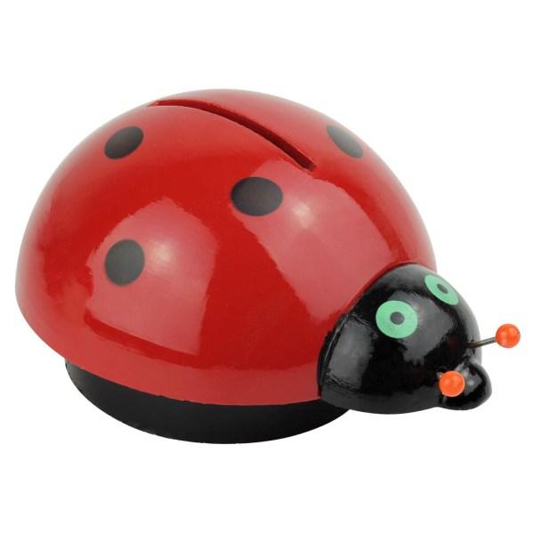 Tirelire Coccinelle en bois rouge avec des points noirs et 2 yeux verts