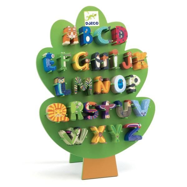 Lettres en bois animaux des 26 lettres de l'alphabet