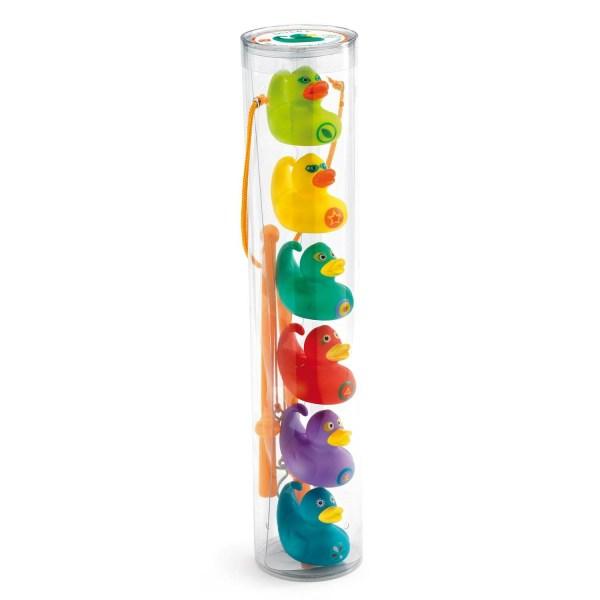 tube de rangement de la Pêche aux canards Ducky avec 2 cannes et les 6 canards de couleurs vert jaune turquoise rouge violet et bleu
