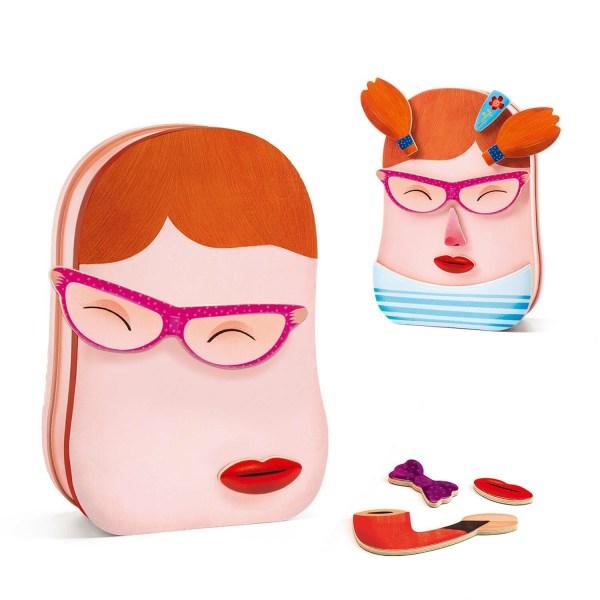 jeu magnétique InZeBox Portraito avec quelques accessoires sur la boite pour faire une tête de personnage