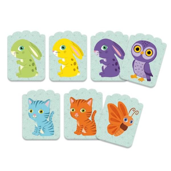Cartes du jeu Little Match avec différents animaux comme le lapin le chat le papillon et le hibou de différentes couleurs vert jaune violet bleu et orange