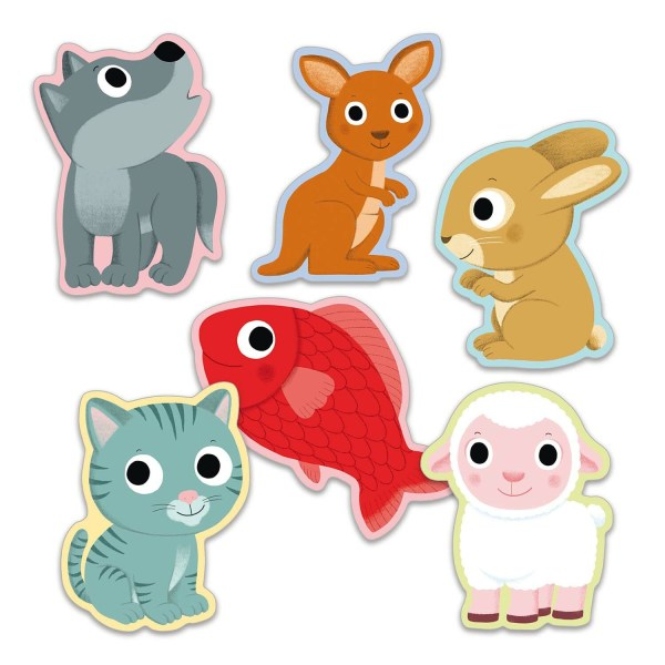 cartes du jeu Little Mime en formes d'animaux loup kangourou lapin chat poisson mouton