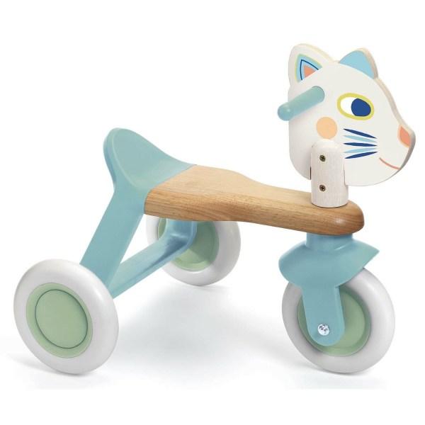Porteur Babyscooti en bois à trois roue avec une tête de chat et des couleurs bleu pastel