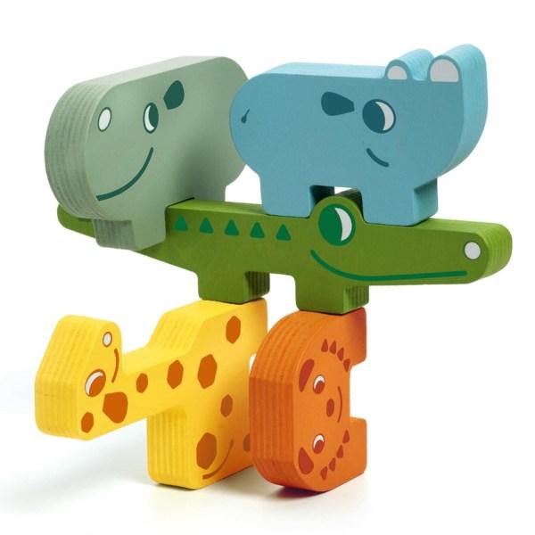 tour d'animaux du jeu Ze Totanimo avec hippopotame rhinocéros crocodile girafe et lion