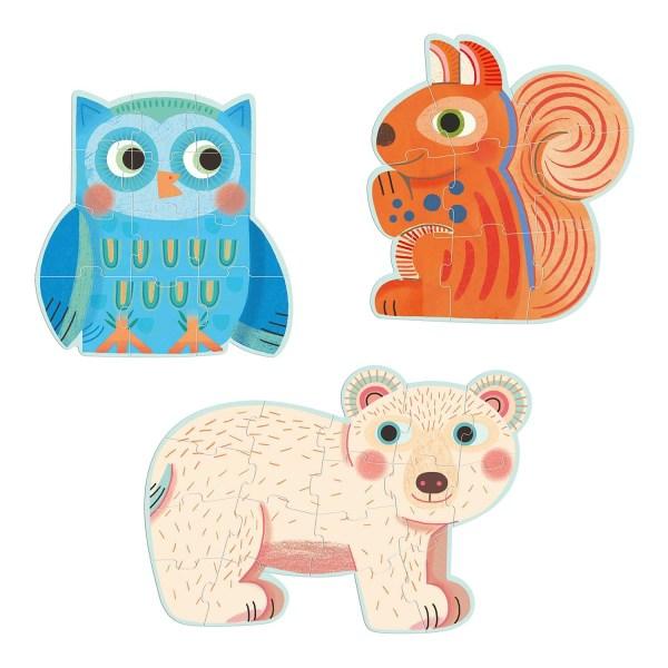 Puzzles évolutifs de la Forêt écureuil 9 pièces, hibou 12 pièces, ours blanc 16 pièces
