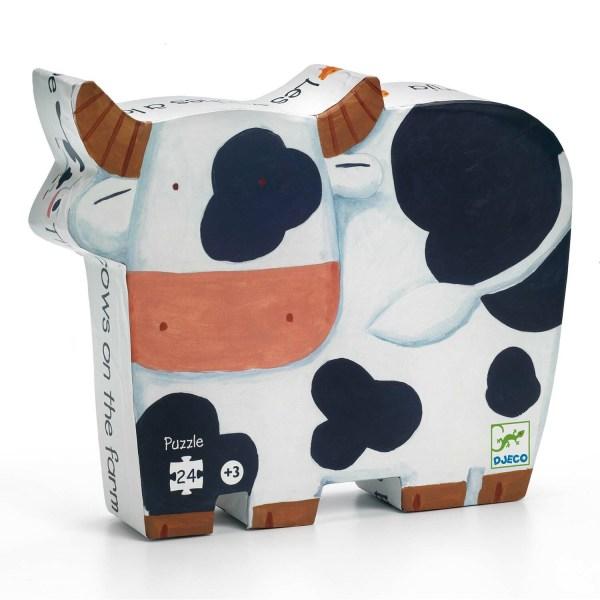 Boite du Puzzle Les vaches 24 pièces en forme de vache