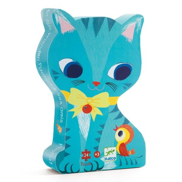 boite du Puzzle chat 24 pièces en forme de chat