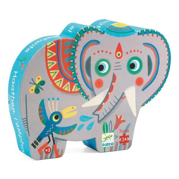 boite du puzzle éléphant 24 pièces en forme d'éléphant