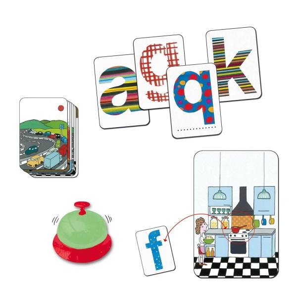 Cartes A G Q K sonnette et cartes scènes du jeu ABC Dring