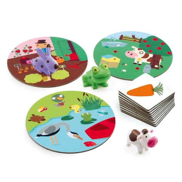 contenu du jeu Little Association avec la vache le lapin la grenouille et les 3 cartes univers ainsi que les cartes éléments