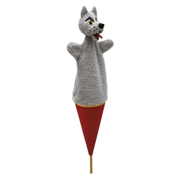 Marotte Loup gris sur un conne rouge avec un bâton