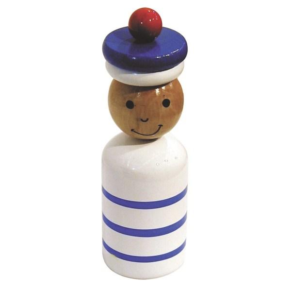 Tirelire marin en bois le corps est blanc avec 3 rayures bleues sa tête est vernis et son chapeau bleau a un pompon rouge