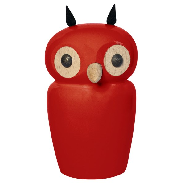 Tirelire chouette rouge en bois avec de grands yeux