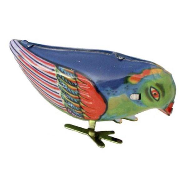 Oiseau en métal à remonter coloré avec du bleu du vert et du rouge