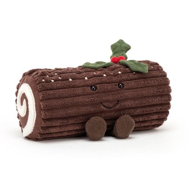 La peluche Bûche de Noël est une peluche très douce en forme de gateau de Noëlqui convient aux bébés dès la naissance. Cette bûche savoureuse a un enrobage couleur chocolat avec des pépites de sucre sur le dessus.