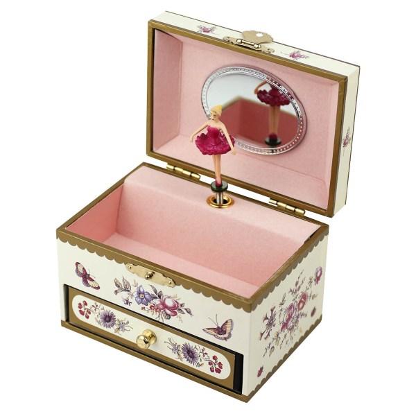 Coffret à bijoux musical Fleurs jaune ouvert avec une danseuse en robe rose foncé