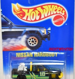 hot wheels 1991 blue card nissan hardbody black w yellow interior ct wheels [ 1225 x 1728 Pixel ]