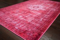 New Traditional Pink Damla Overdyed Area Rug Carpet