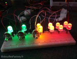 Le test des valeurs de résistances pour chaque LEDs