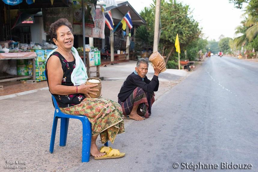 Monk alms in thai village