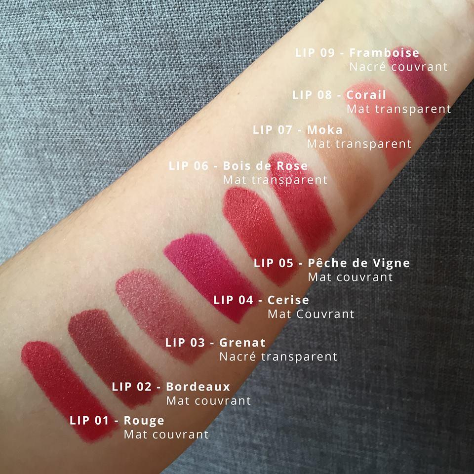 couleurs rouge à lèvres