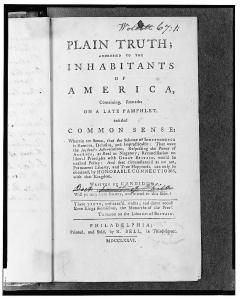 """Image of the title page for Thomas Paine's """"Common Sense."""""""