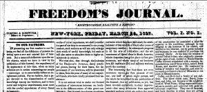 "Image of the first issue of ""Freedom's Journal."""