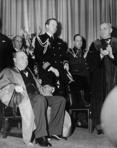Photo of Winston Churchill and Harry Truman at Westminster College in Fulton, MO.