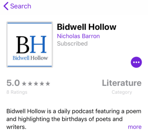 Screenshot of Bidwell Hollow on the iPhone Podcast app.