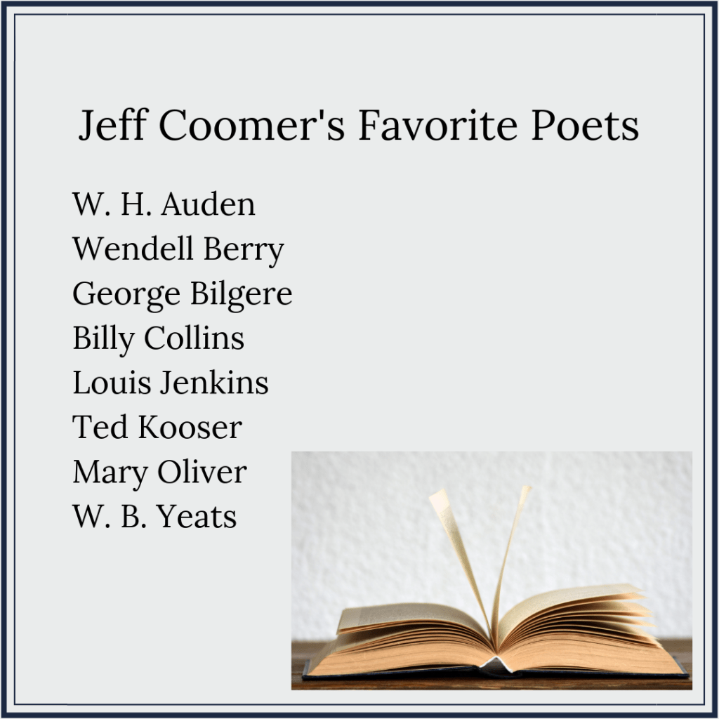 "Header reading, ""Jeff Coomer's Favorite Poets,"" followed by this list: W. H. Auden, Wendell Berry, George Bilgere, Billy Collins, Louis Jenkins, Ted Kooser, Mary Oliver, and W. B. Yeats"