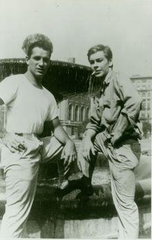Jack Kerouac standing next to Lucien Carr.
