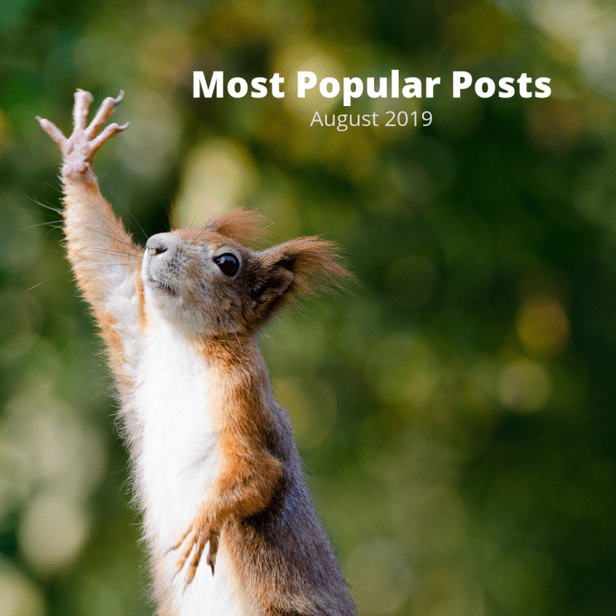 A red squirrel raising its hand and the words, Most Popular Posts August 2019.