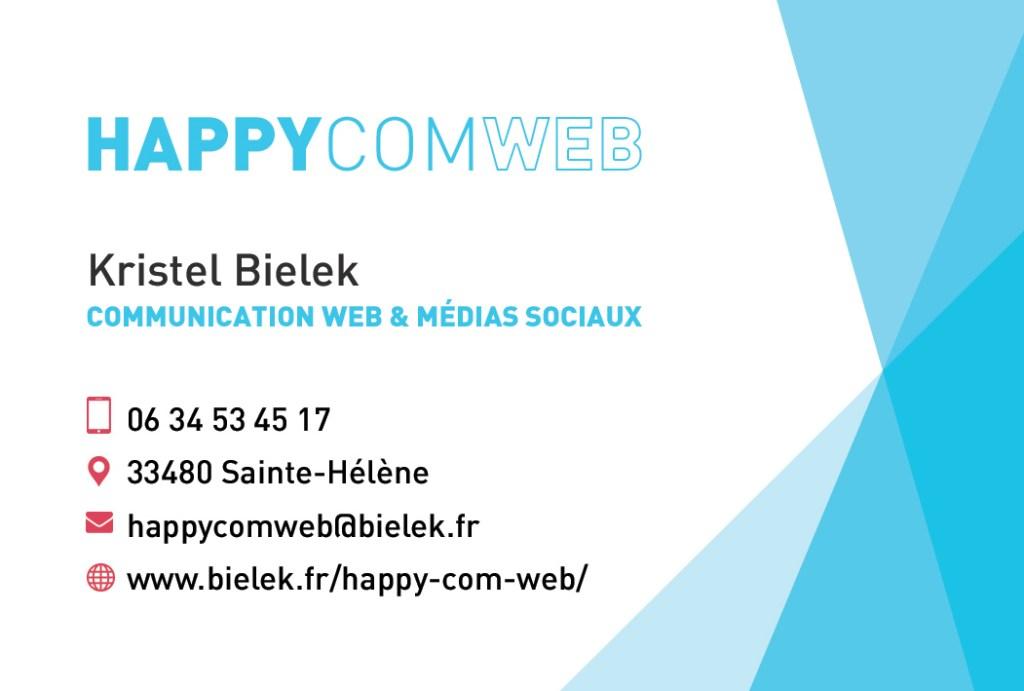 Happy com web  Kristel Bielek Communication web et médias sociaux Sainte Hélène 33480