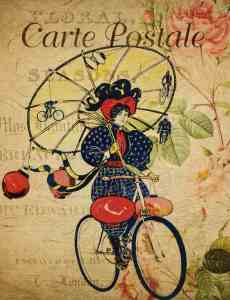 carte postale vintage de femme en vélo