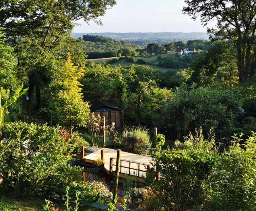 vue sur le jardin et espace méditation